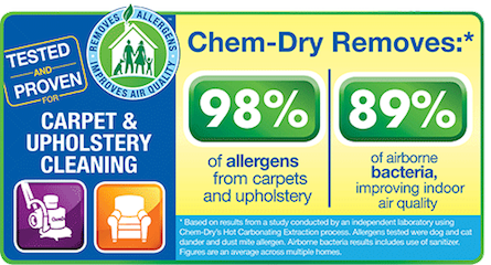 Action Chem-Dry uses non-toxic cleaning solution to remove dust, grime, stains, and allergens from carpets and upholstery.